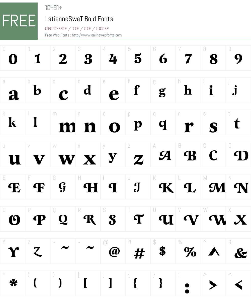 LatienneSwaT Font Screenshots