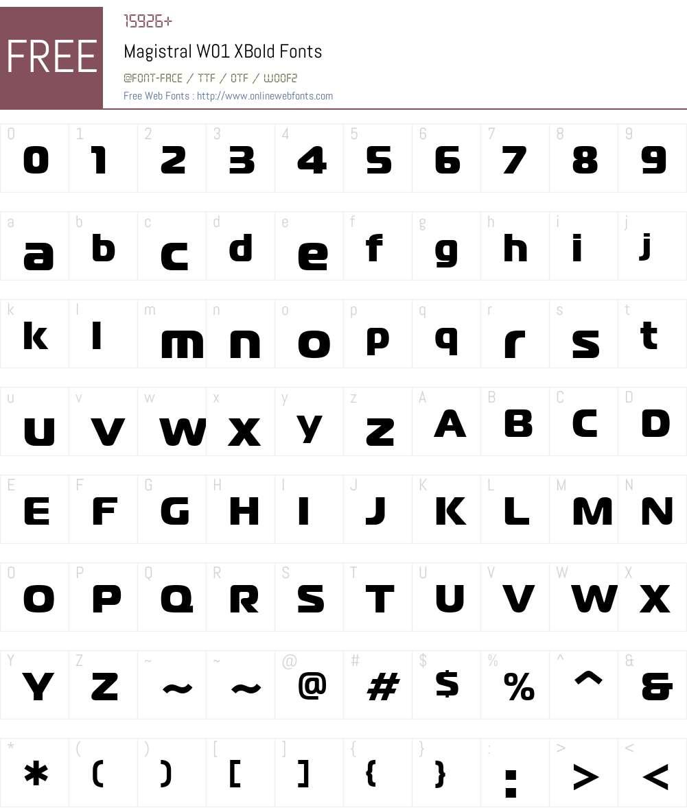 MagistralW01-XBold Font Screenshots
