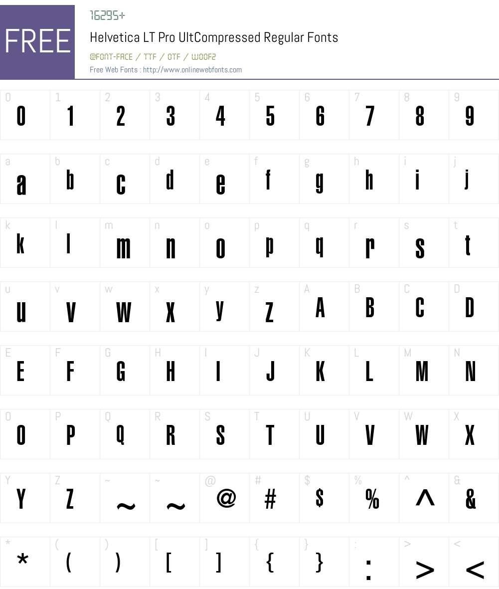 Helvetica LT Pro UltCompressed Font Screenshots