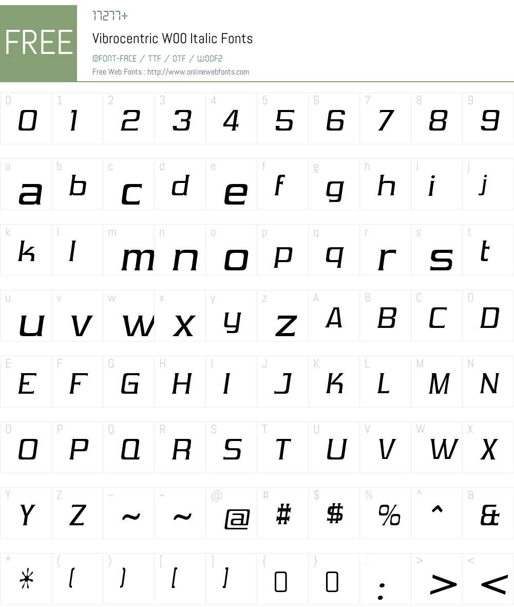 VibrocentricW00-Italic Font Screenshots