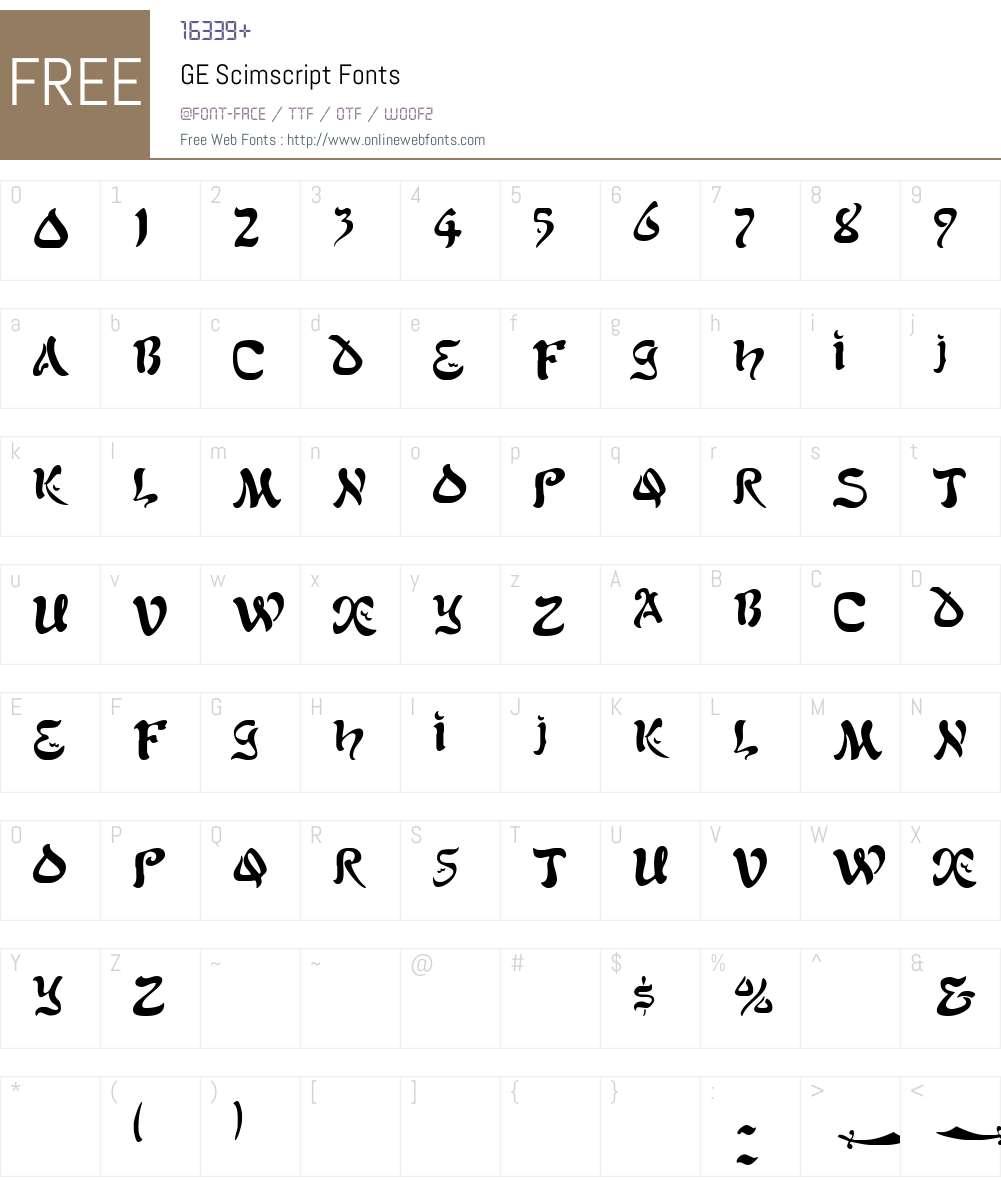 GE Scimscript Font Screenshots