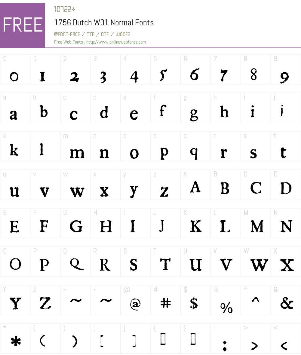 1756DutchW01-Normal Font Screenshots