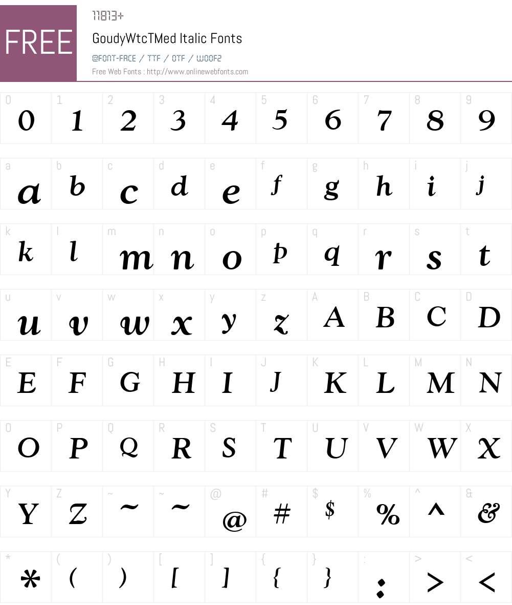 GoudyWtcTMed Font Screenshots