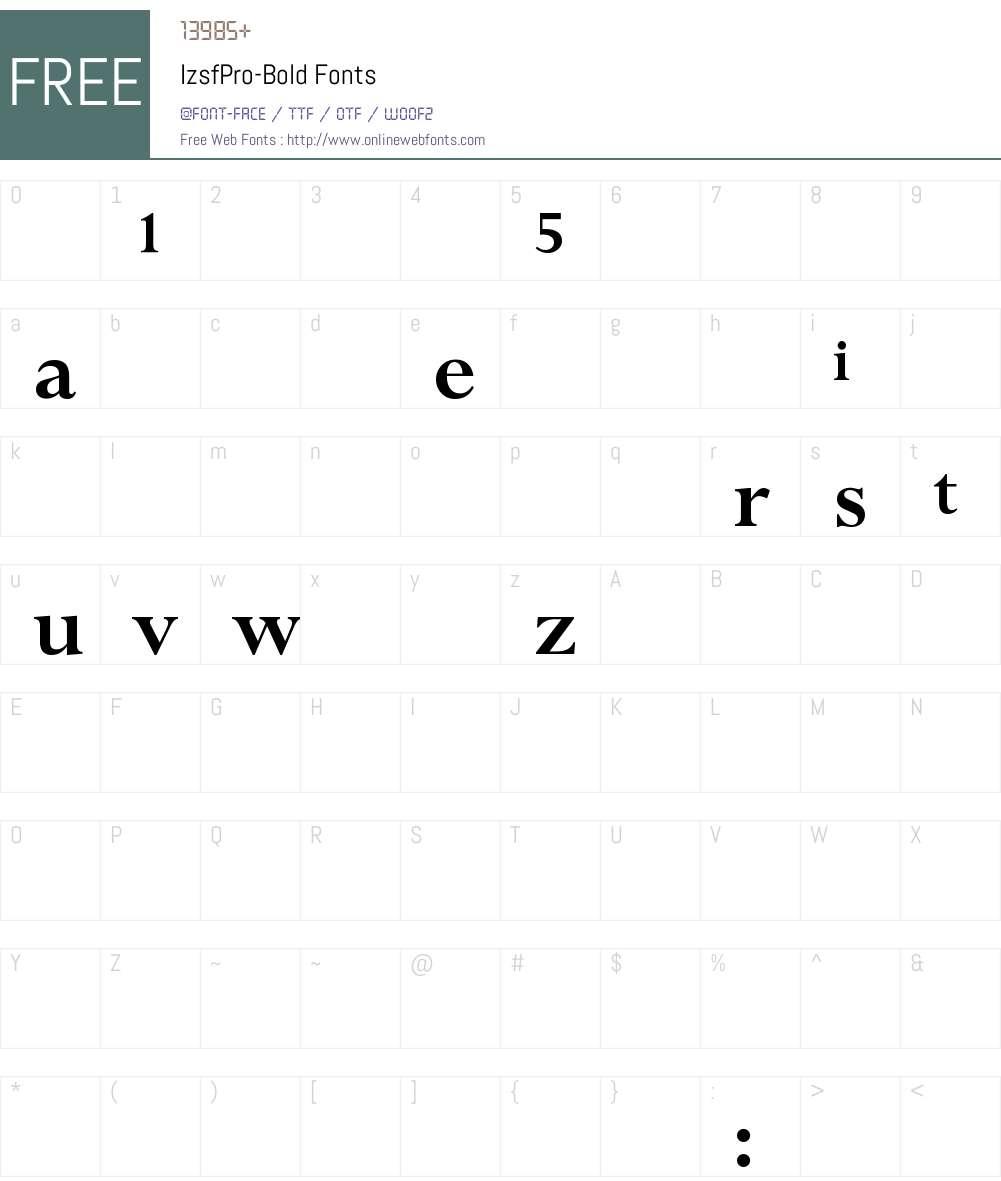 IzsfPro-Bold Font Screenshots