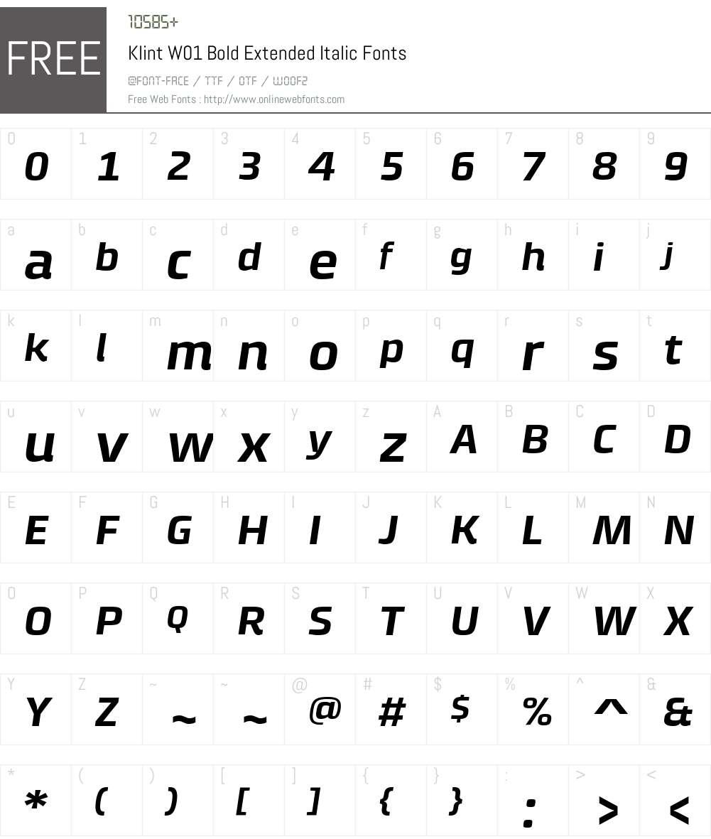 KlintW01-BoldExtendedItalic Font Screenshots