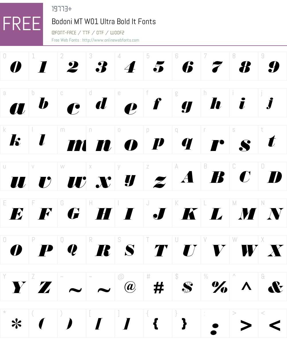 BodoniMTW01-UltraBoldIt Font Screenshots