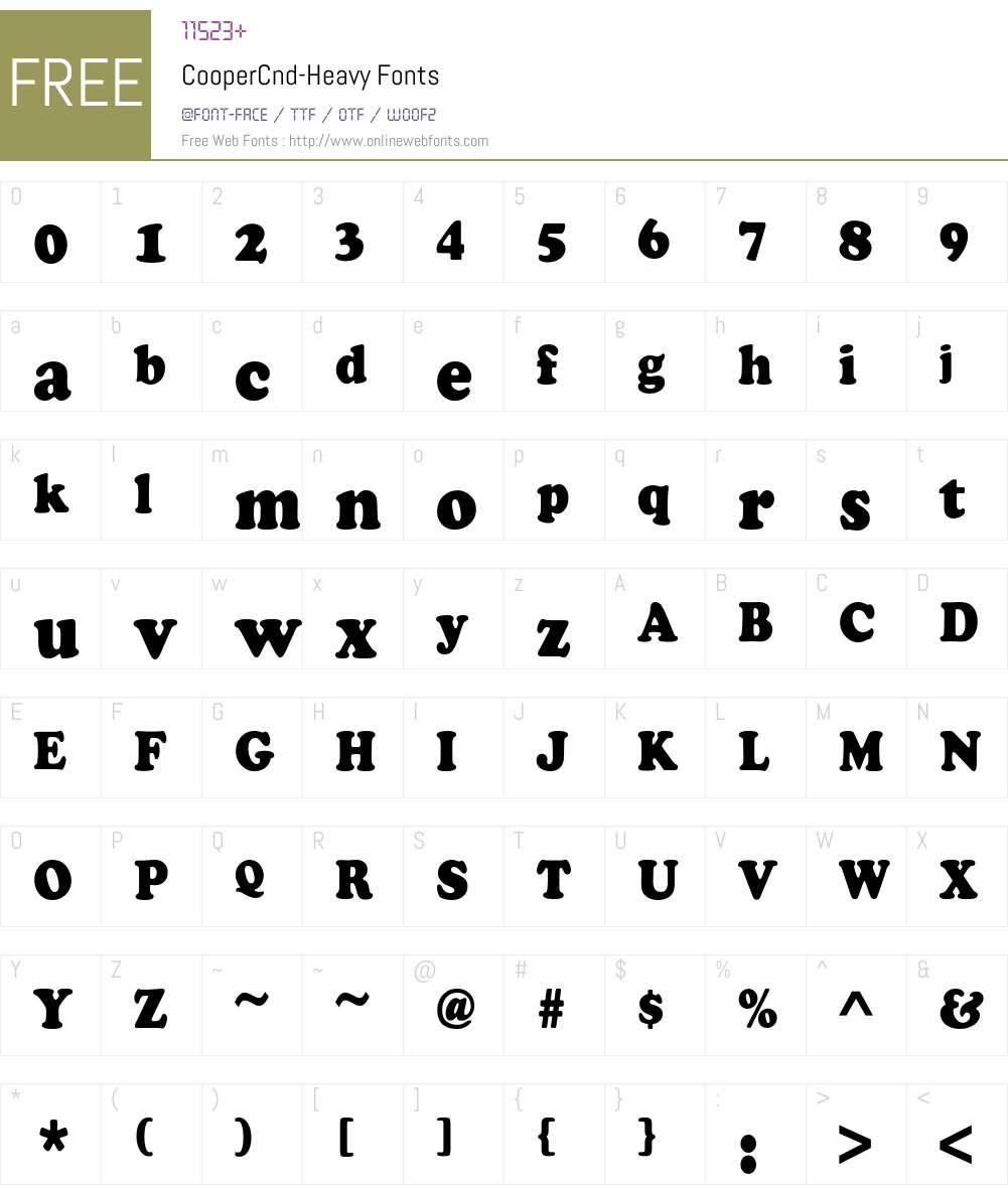 CooperCnd-Heavy Font Screenshots