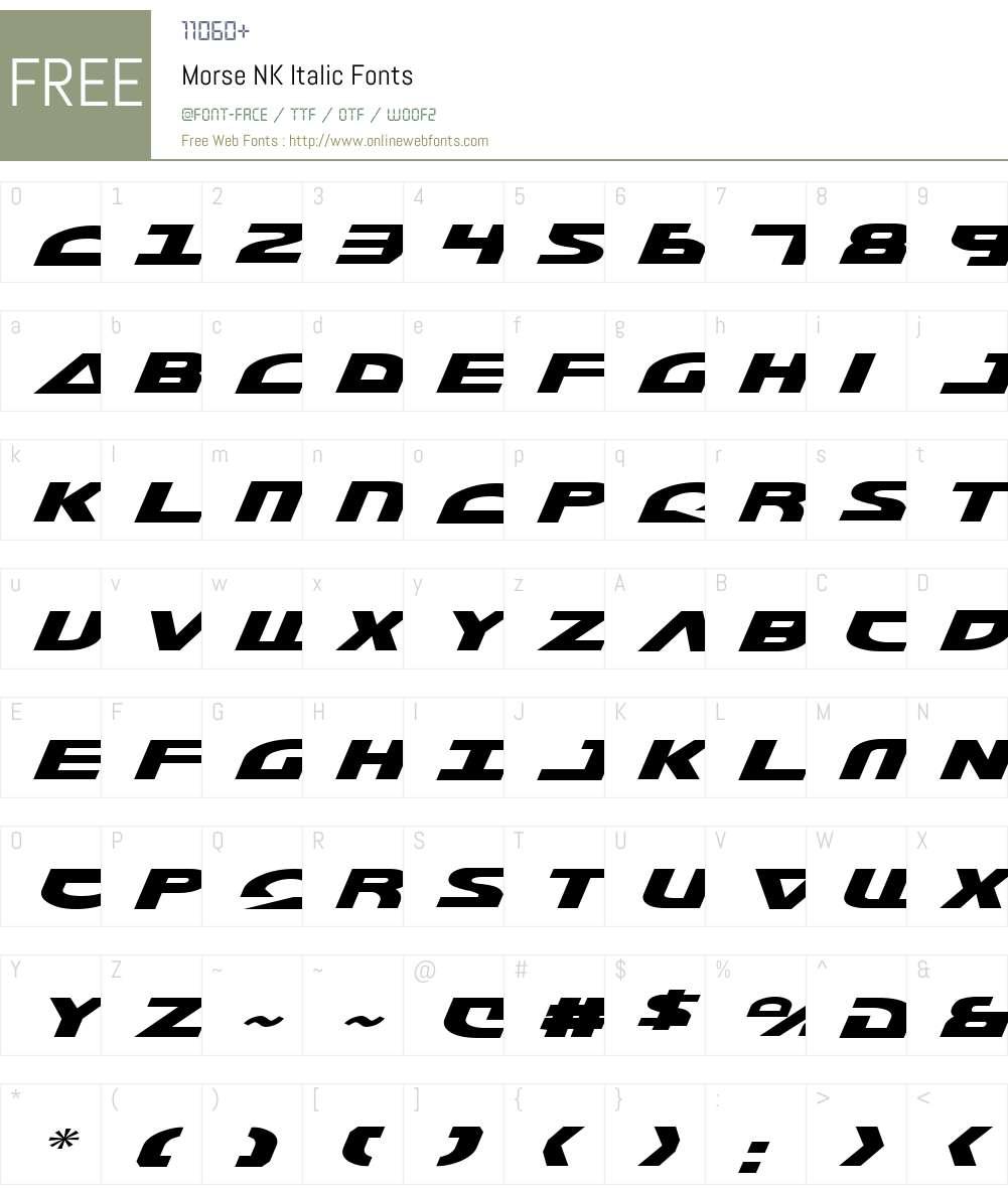 Morse NK Italic Font Screenshots