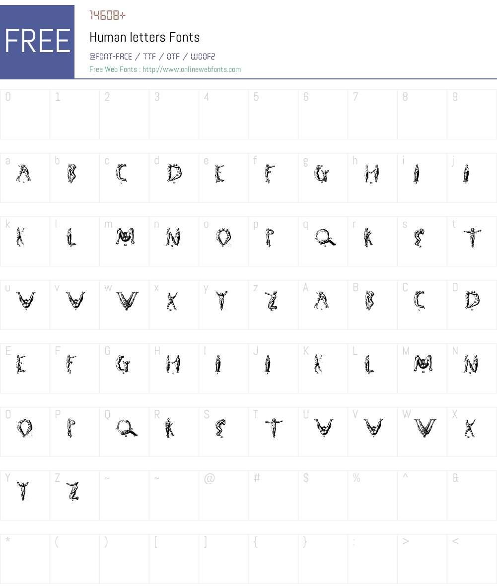 Human letters Font Screenshots