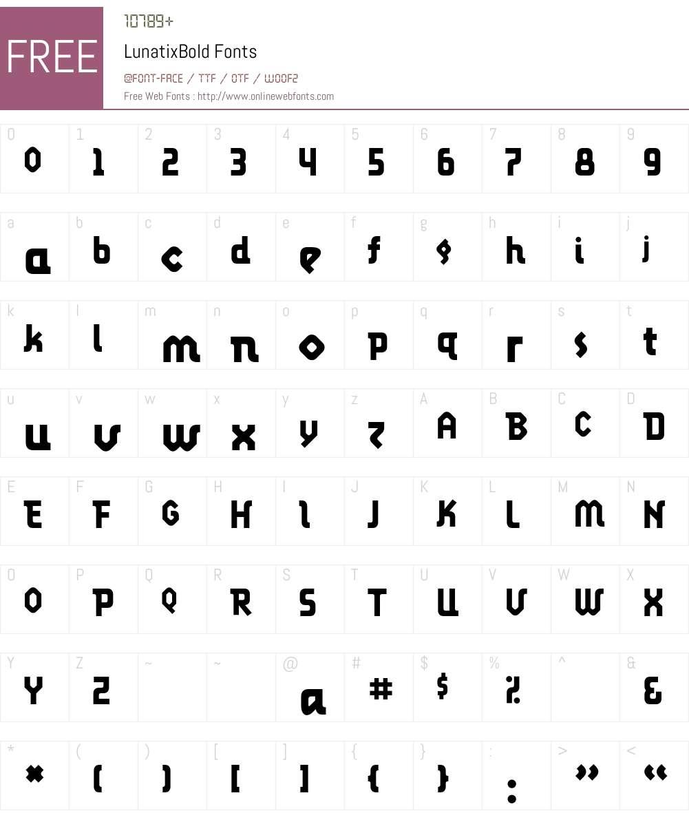 LunatixBold Font Screenshots