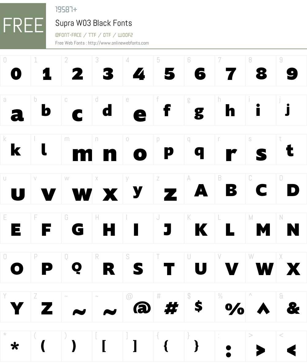 Supra Font Screenshots