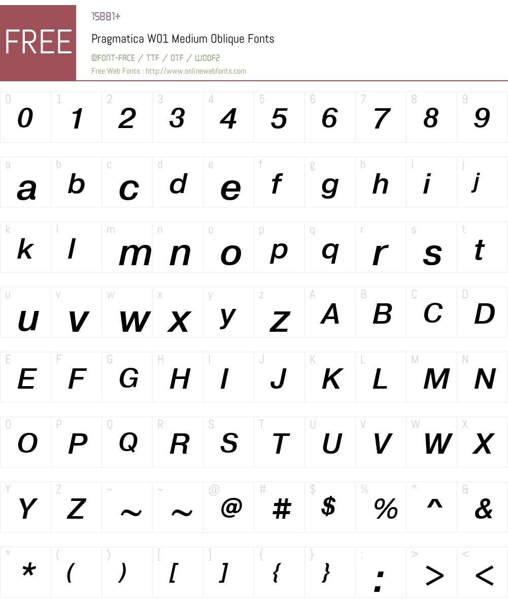 PragmaticaW01-MediumOblique Font Screenshots