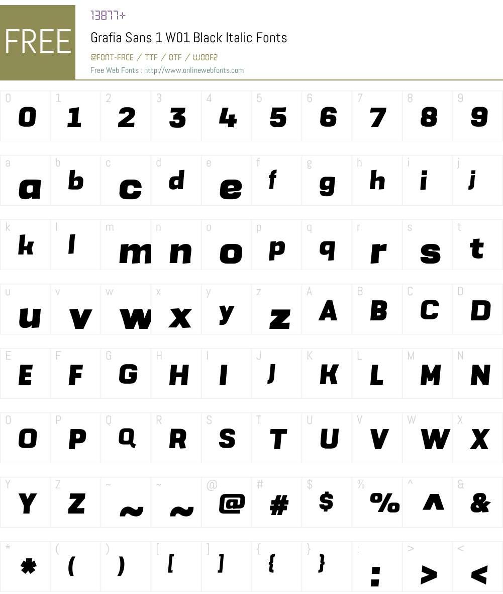GrafiaSans1W01-BlackItalic Font Screenshots