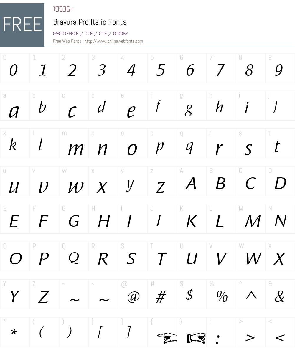 BravuraPro-Italic Font Screenshots