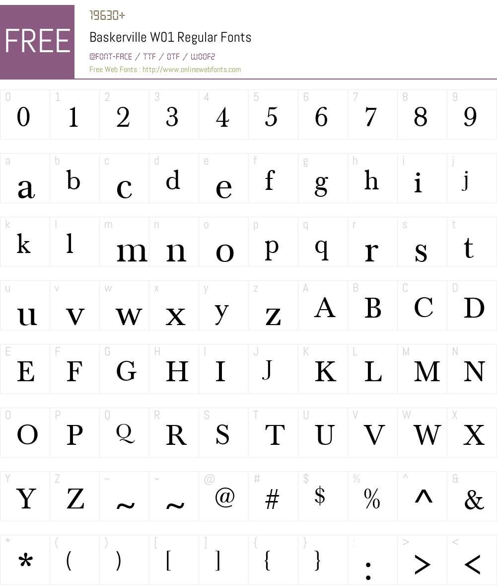 BaskervilleW01-Regular Font Screenshots