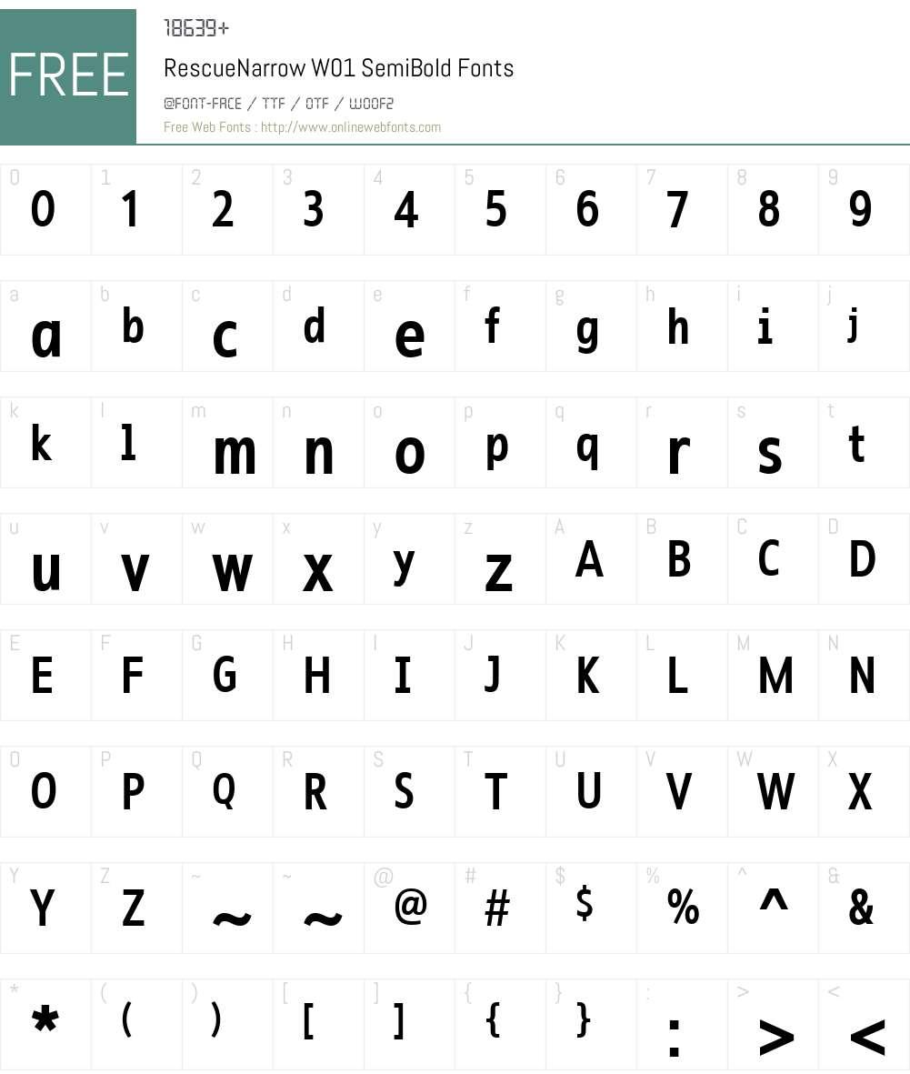 RescueNarrowW01-SemiBold Font Screenshots