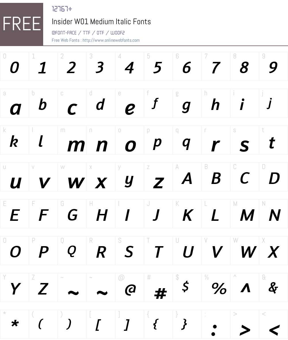 InsiderW01-MediumItalic Font Screenshots