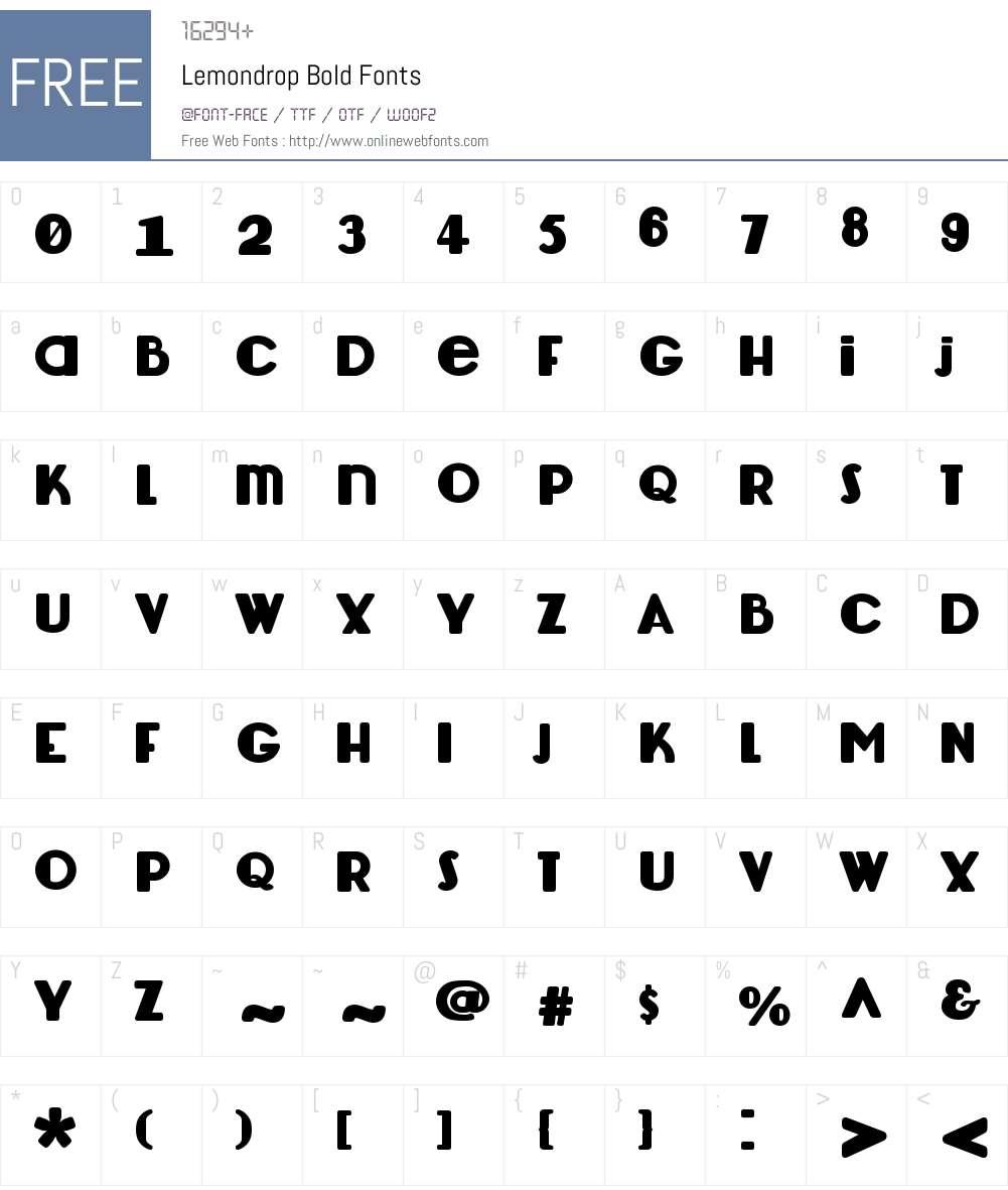 Lemondrop Font Screenshots