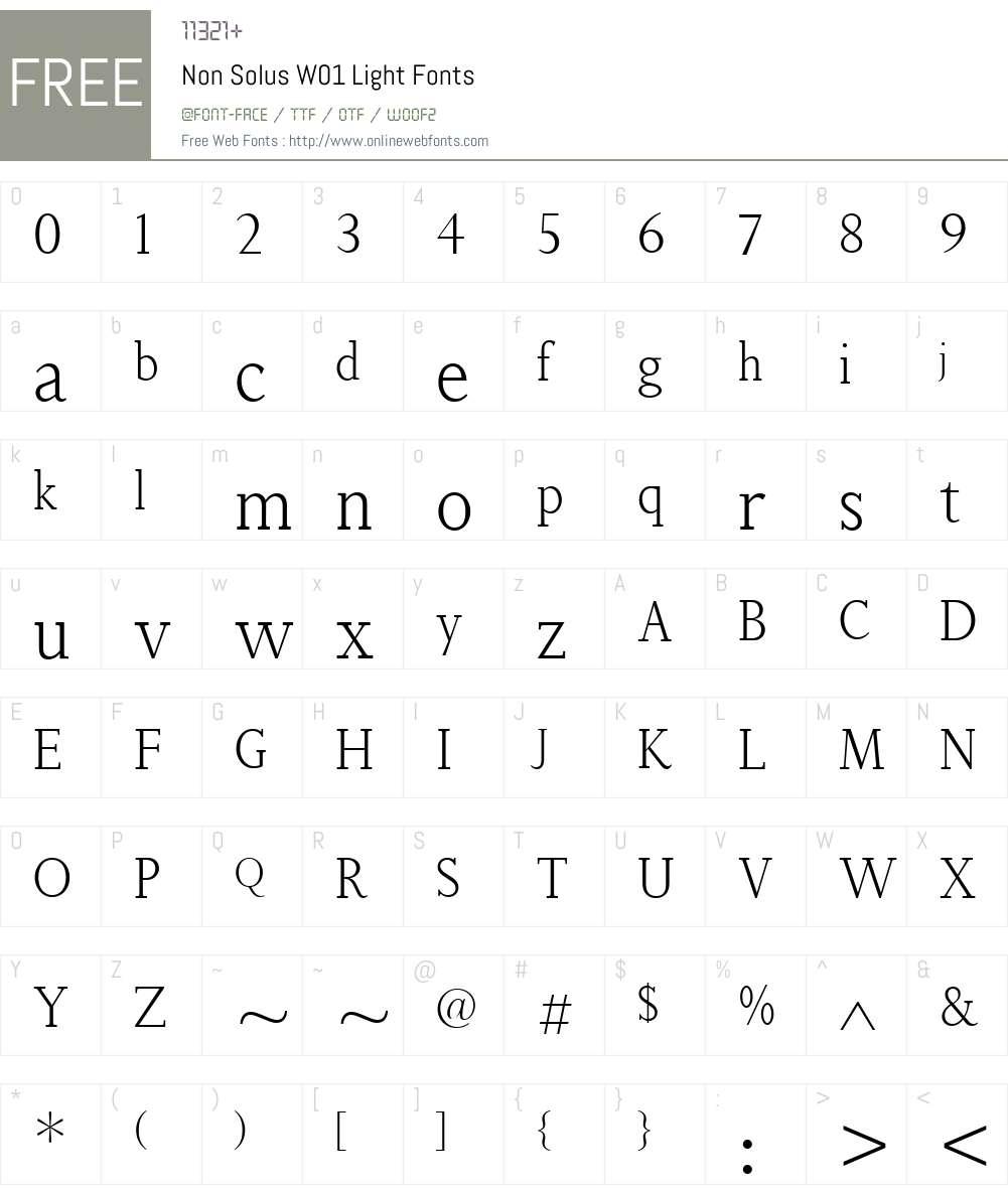 NonSolusW01-Light Font Screenshots