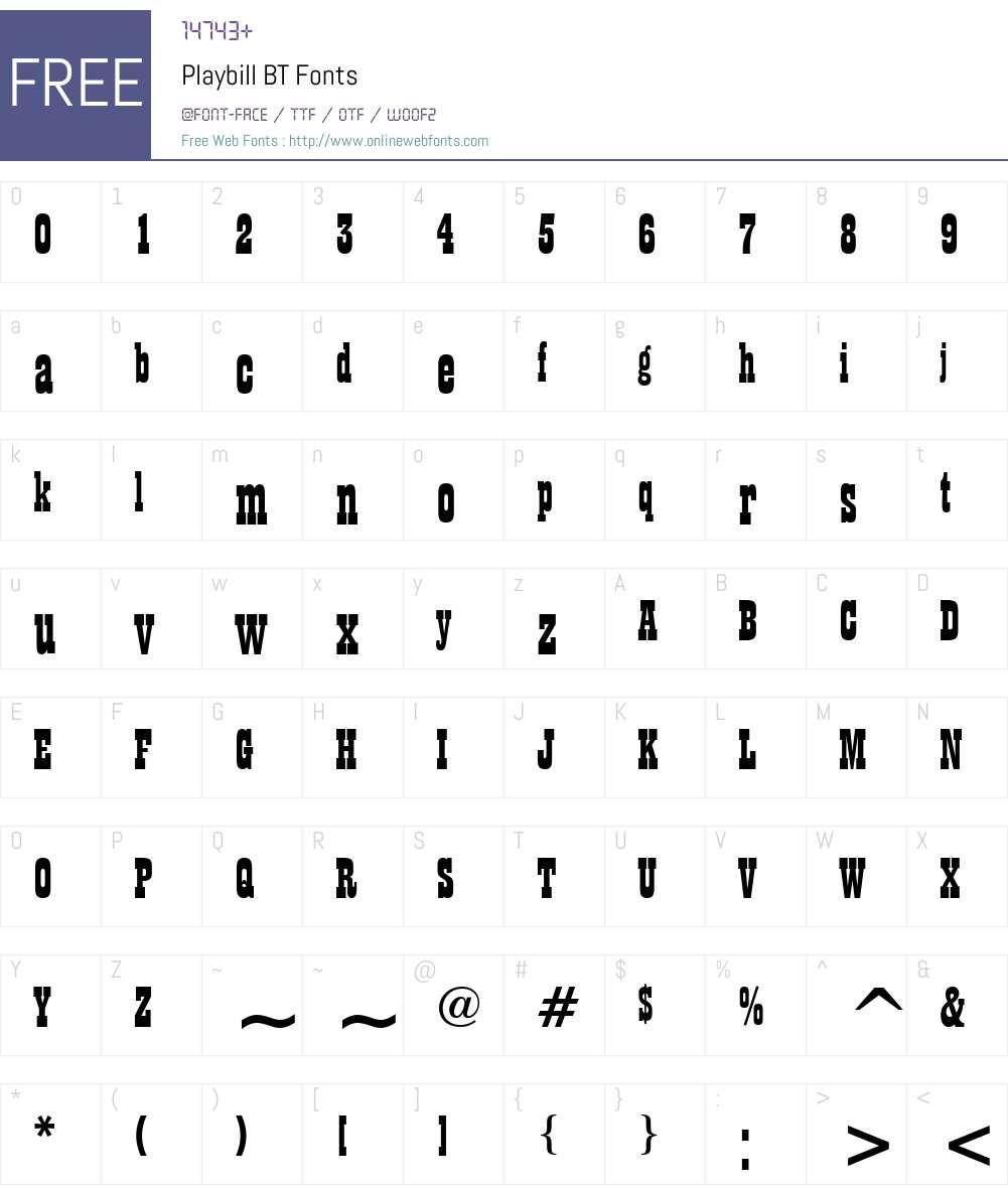 Playbill Font Screenshots