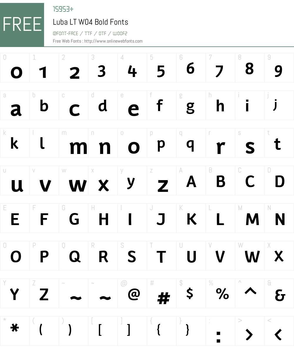 LubaLTW04-Bold Font Screenshots