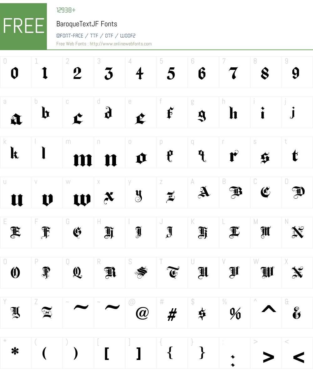 BaroqueTextJF Font Screenshots