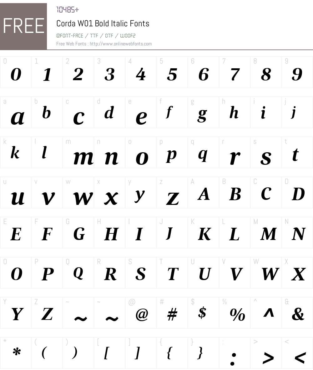 CordaW01-BoldItalic Font Screenshots
