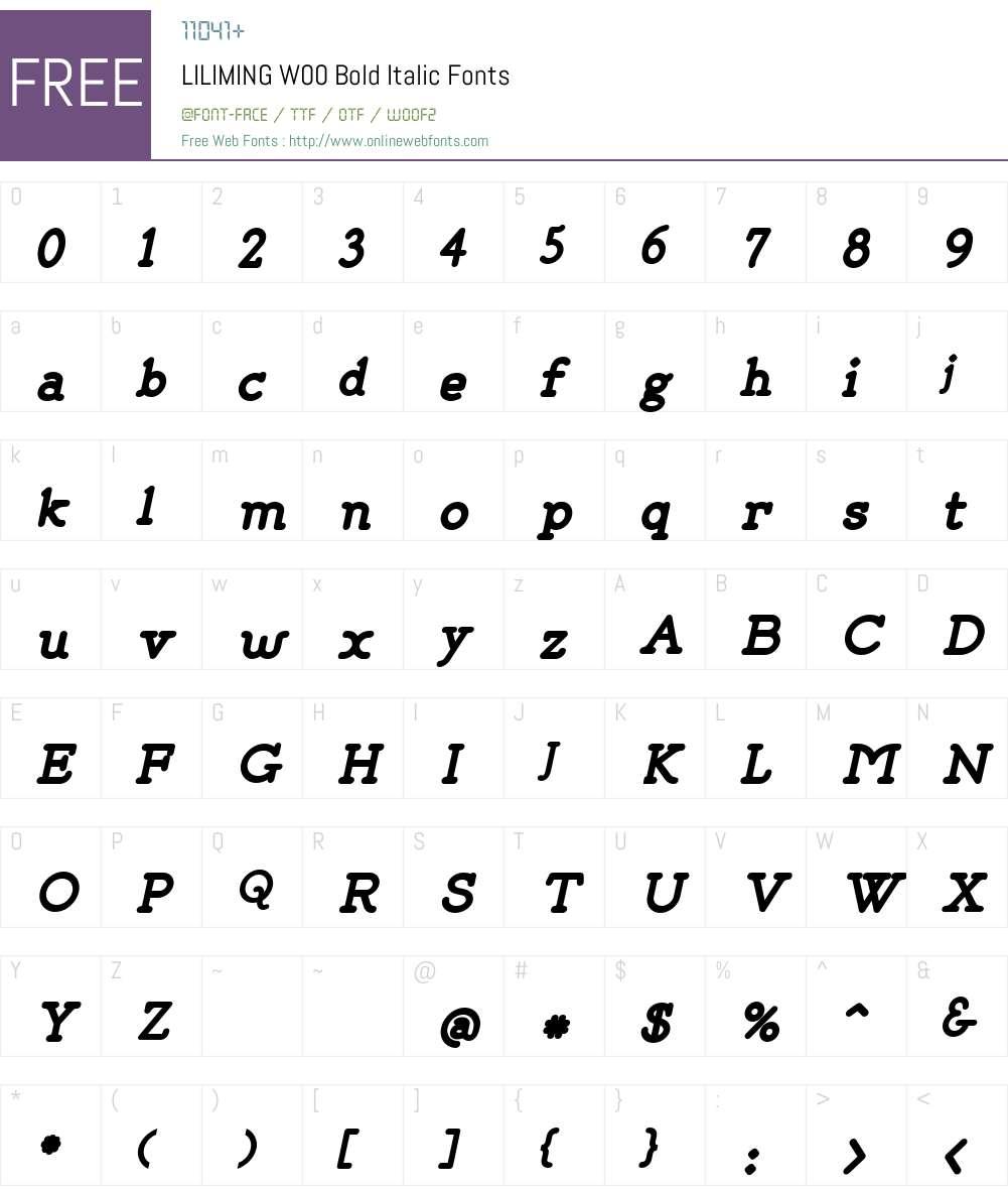 LILIMINGW00-BoldItalic Font Screenshots