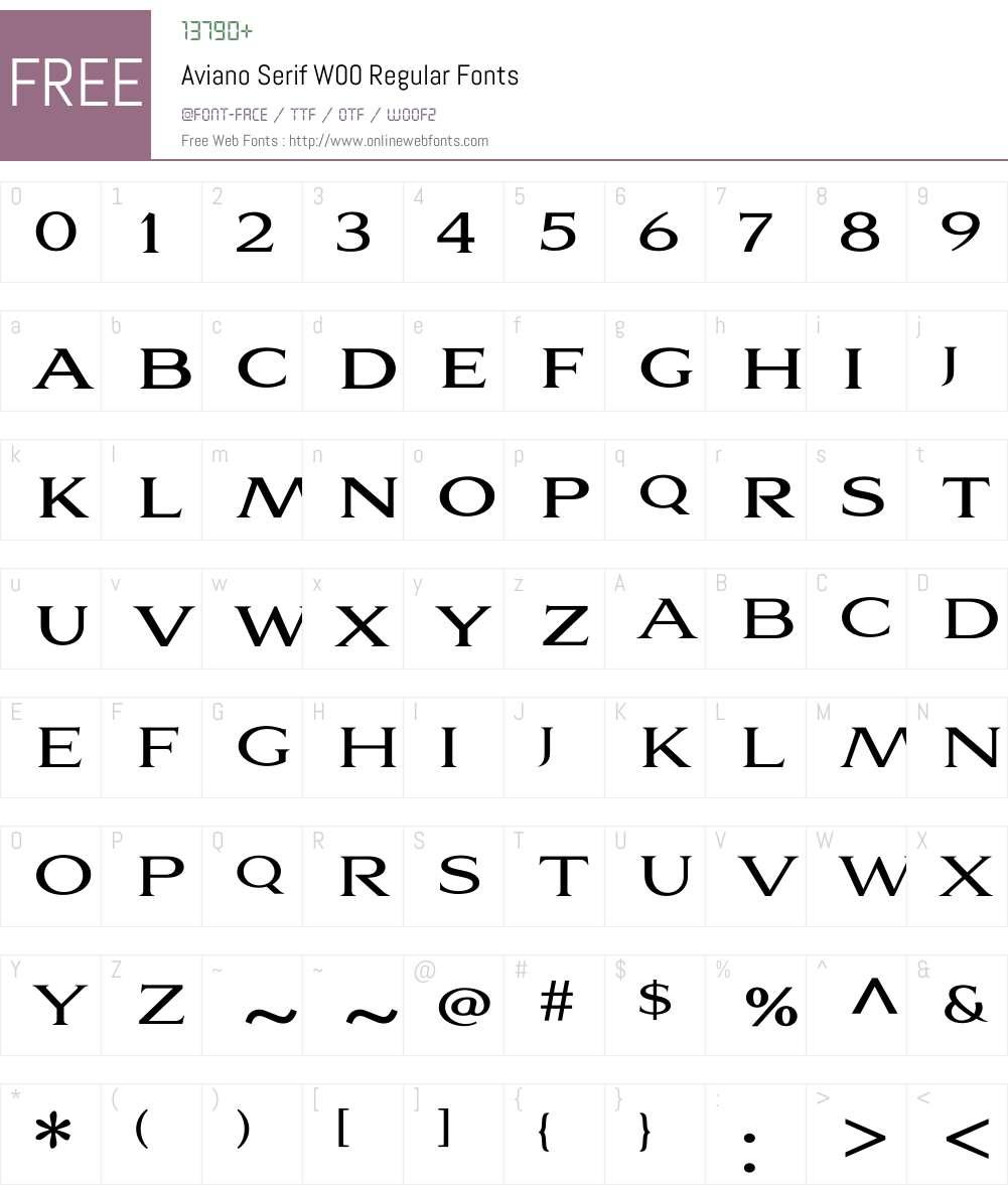 Aviano Serif Regular Font Screenshots