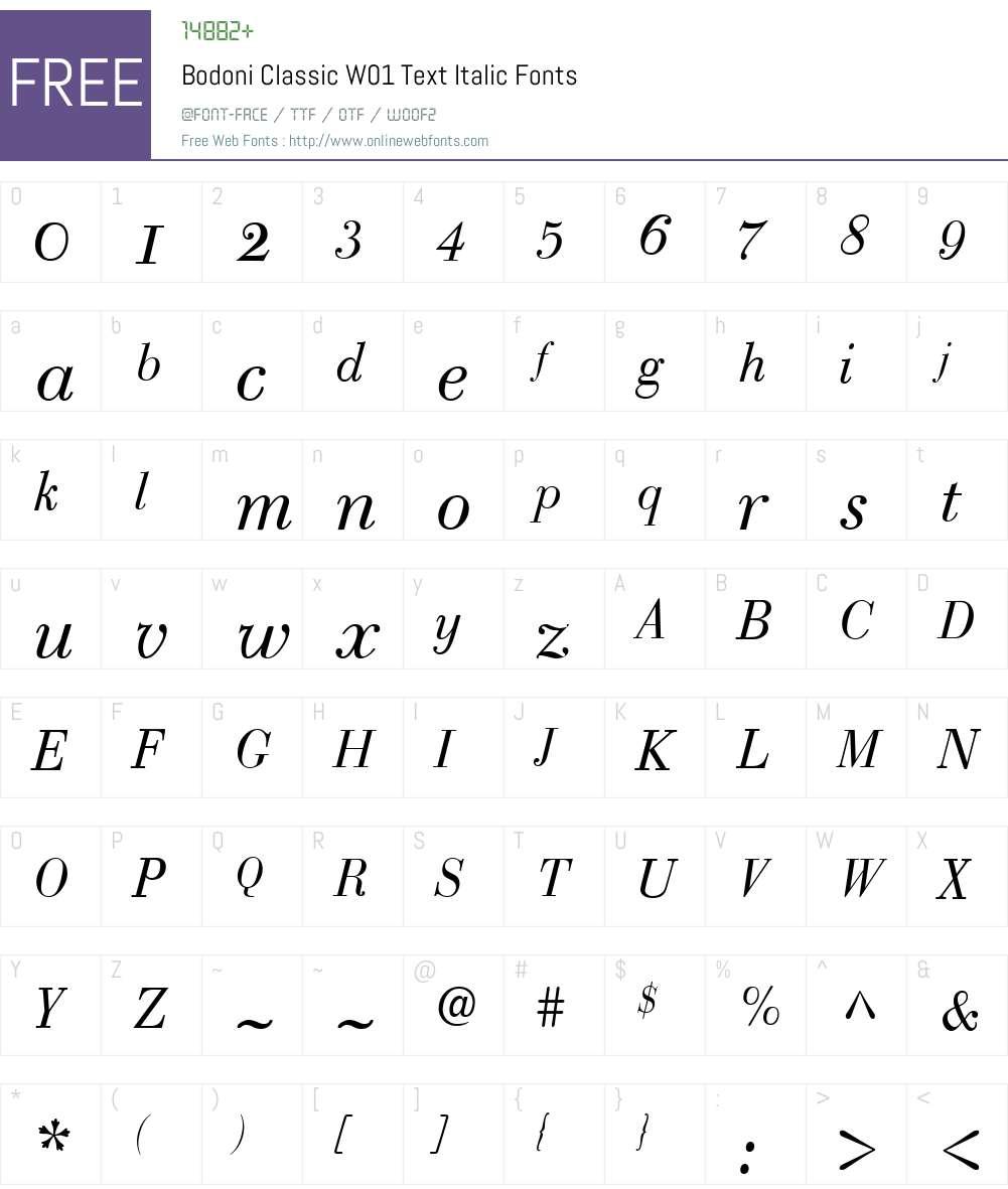 BodoniClassicW01-TextItalic Font Screenshots