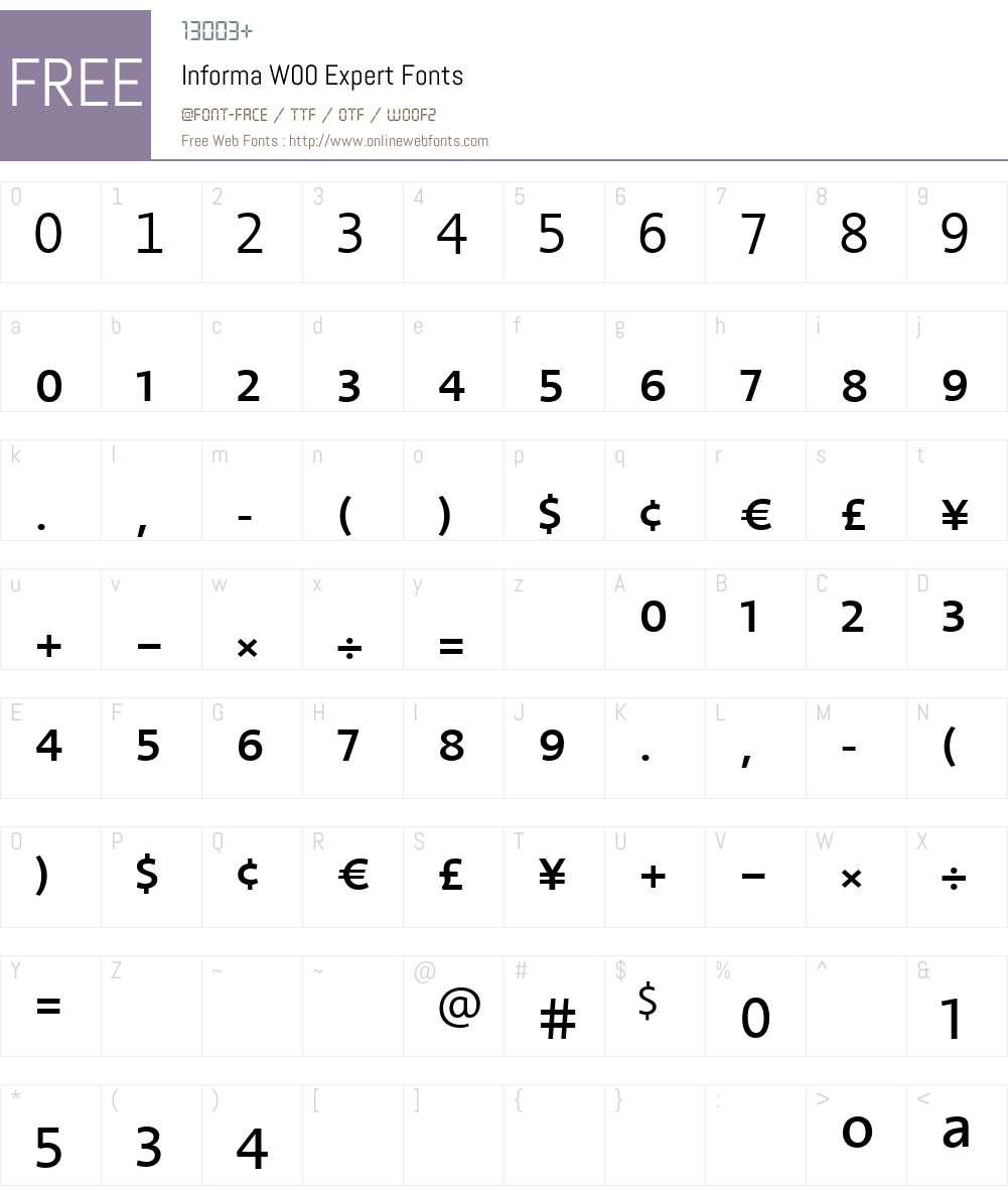 InformaW00-Expert Font Screenshots