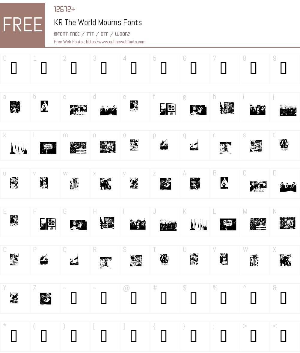 KR The World Mourns Font Screenshots
