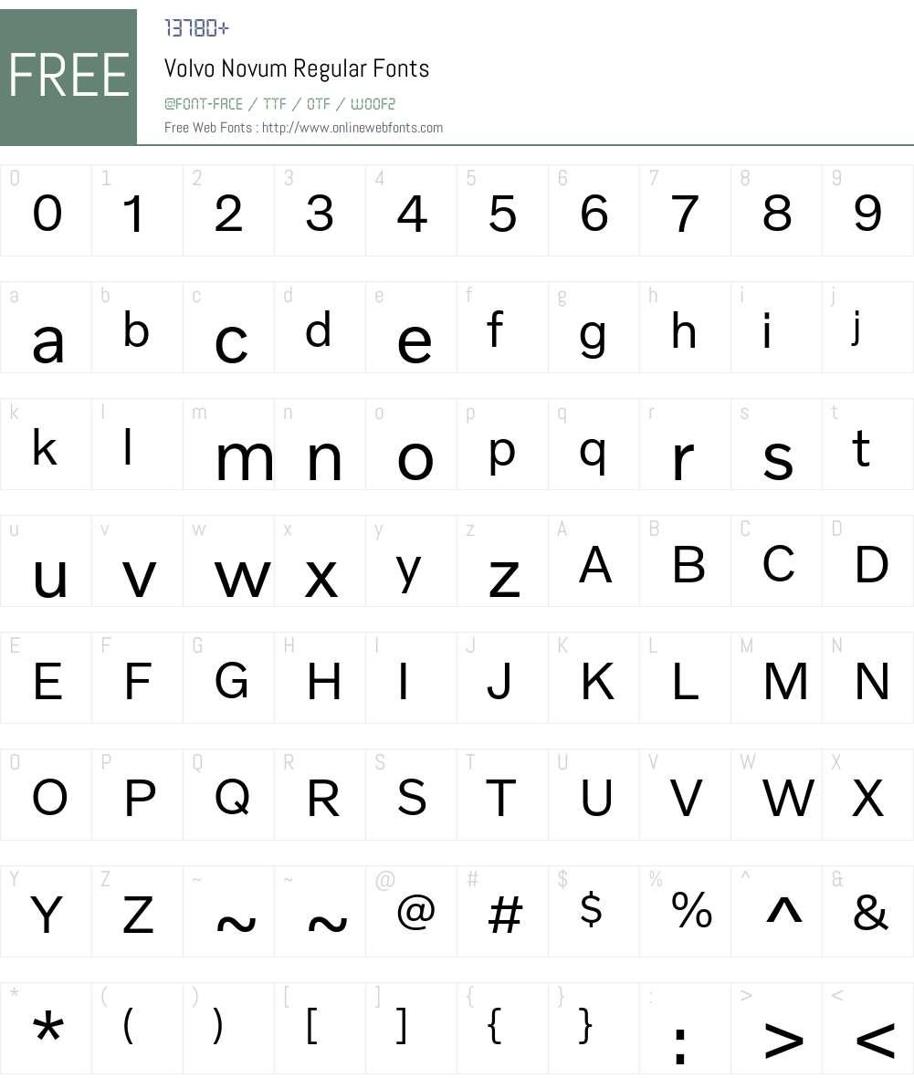 Volvo Novum Font Screenshots