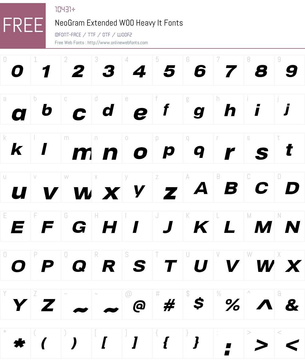 NeoGramExtendedW00-HeavyIt Font Screenshots
