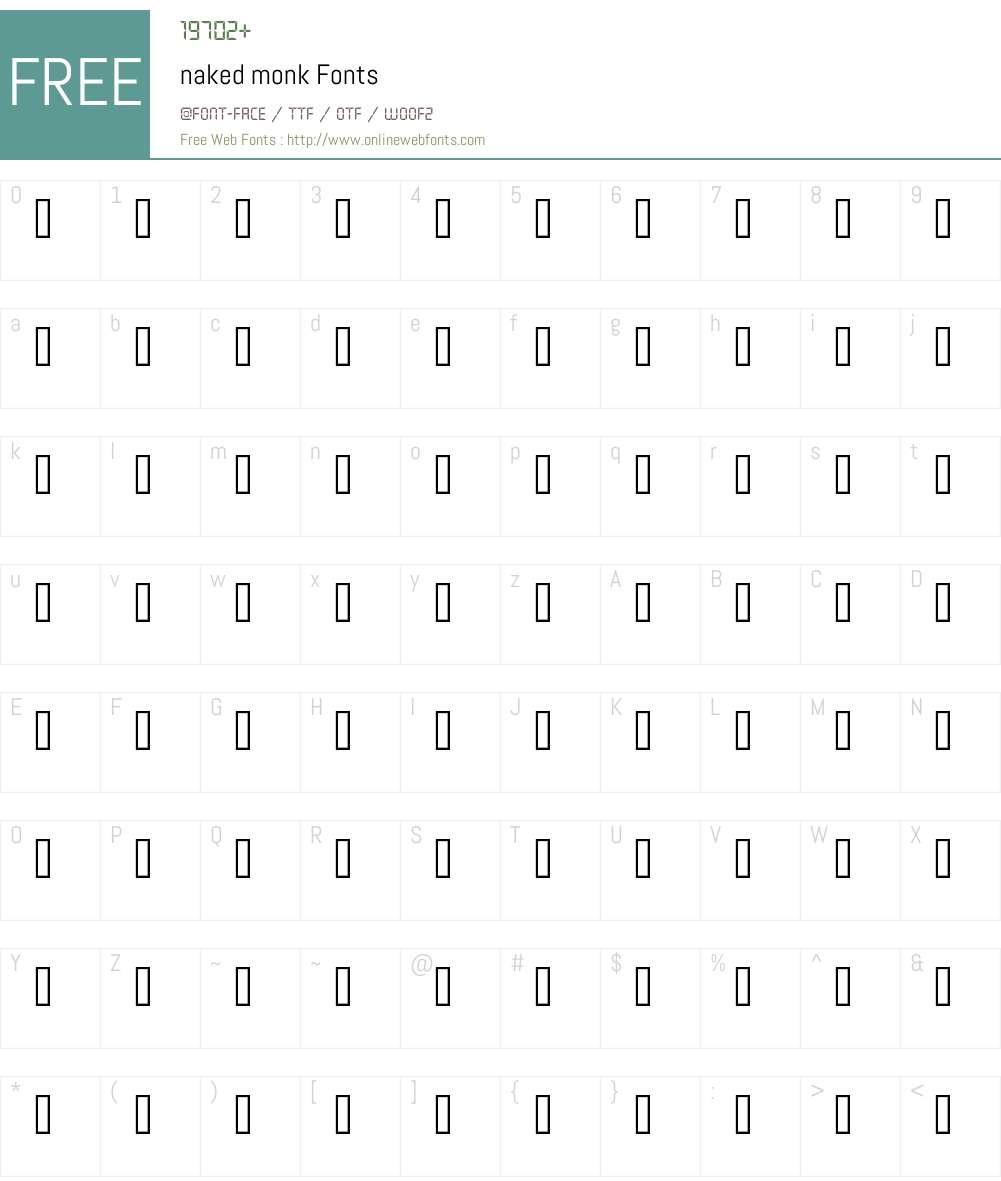 naked monk Font Screenshots