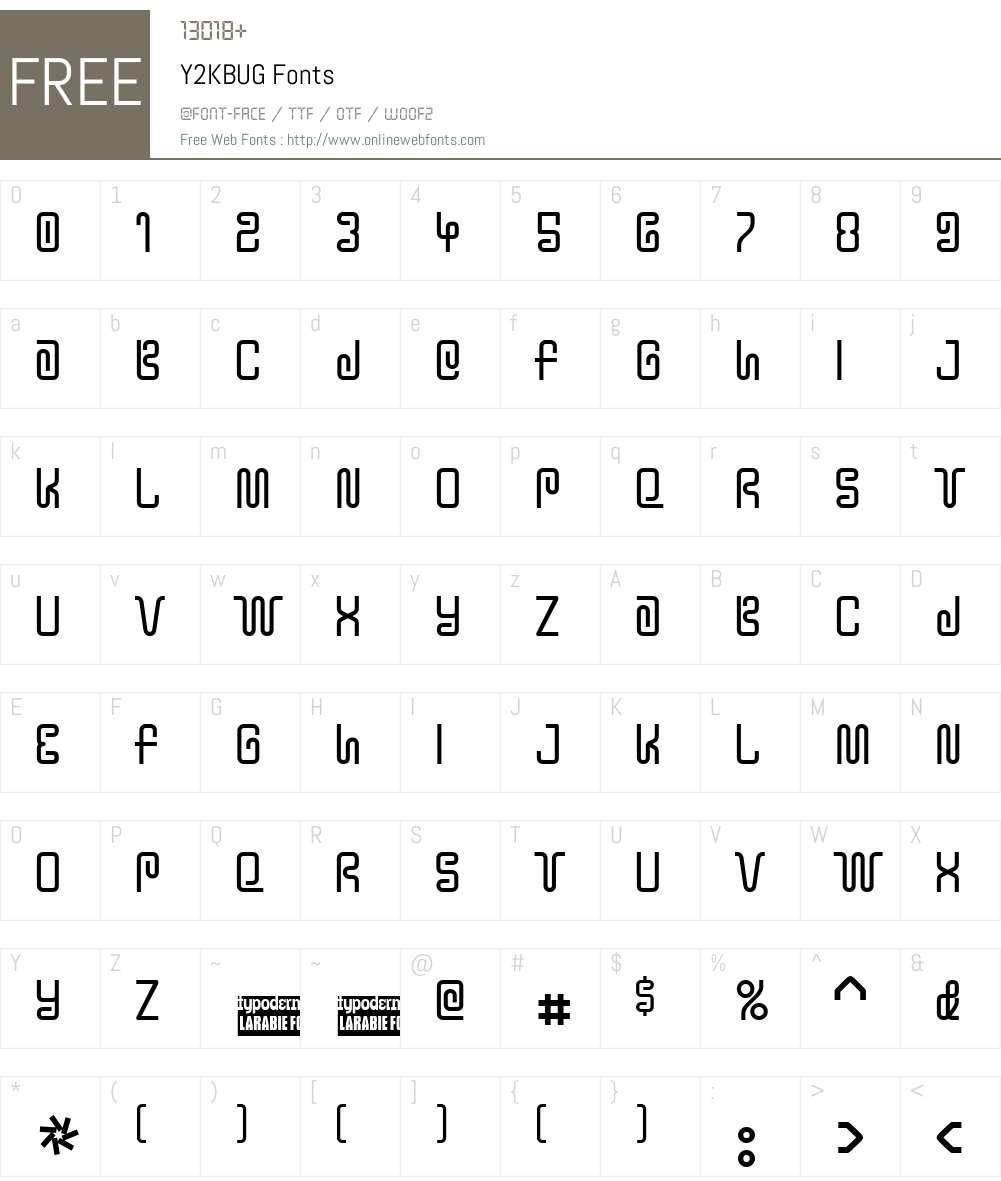 Y2KBUG Font Screenshots