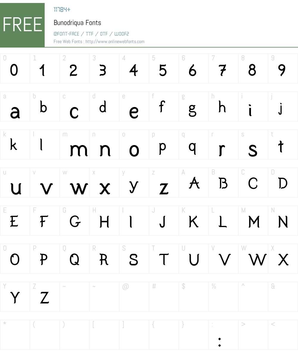 Bunodriqua Font Screenshots