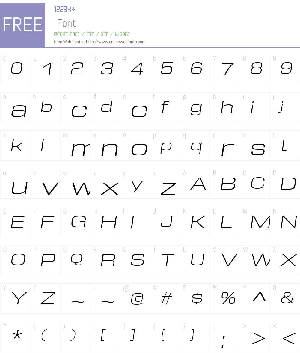 DDTW00-ExtendedLightItalic Font Screenshots