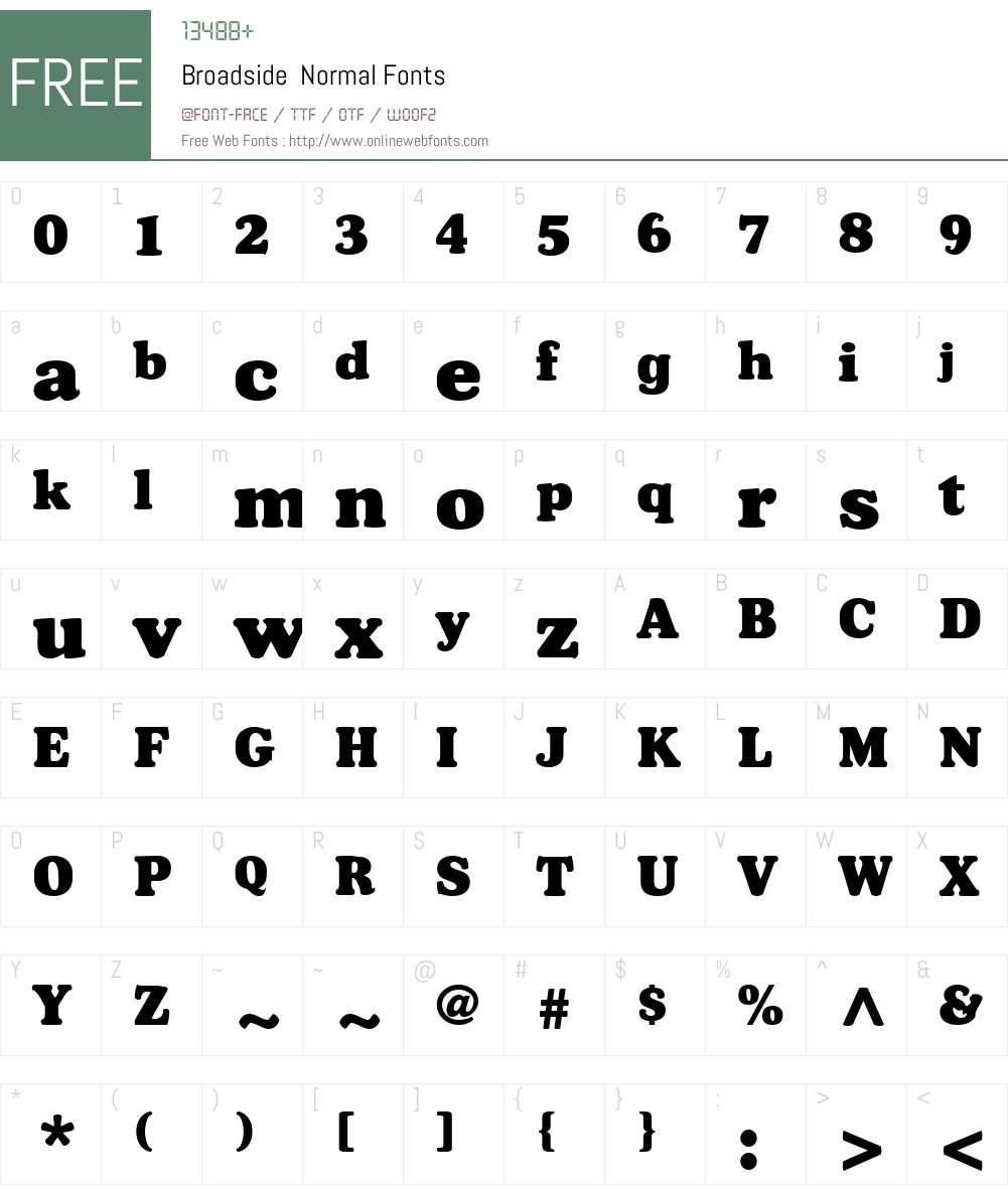 Broadside Font Screenshots