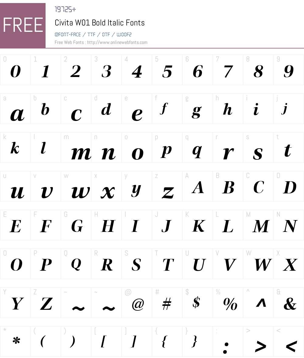 CivitaW01-BoldItalic Font Screenshots