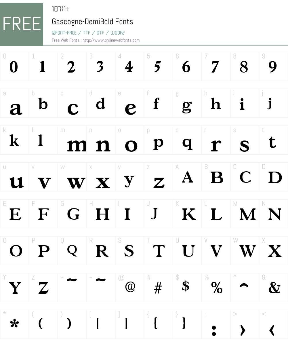 Gascogne-DemiBold Font Screenshots