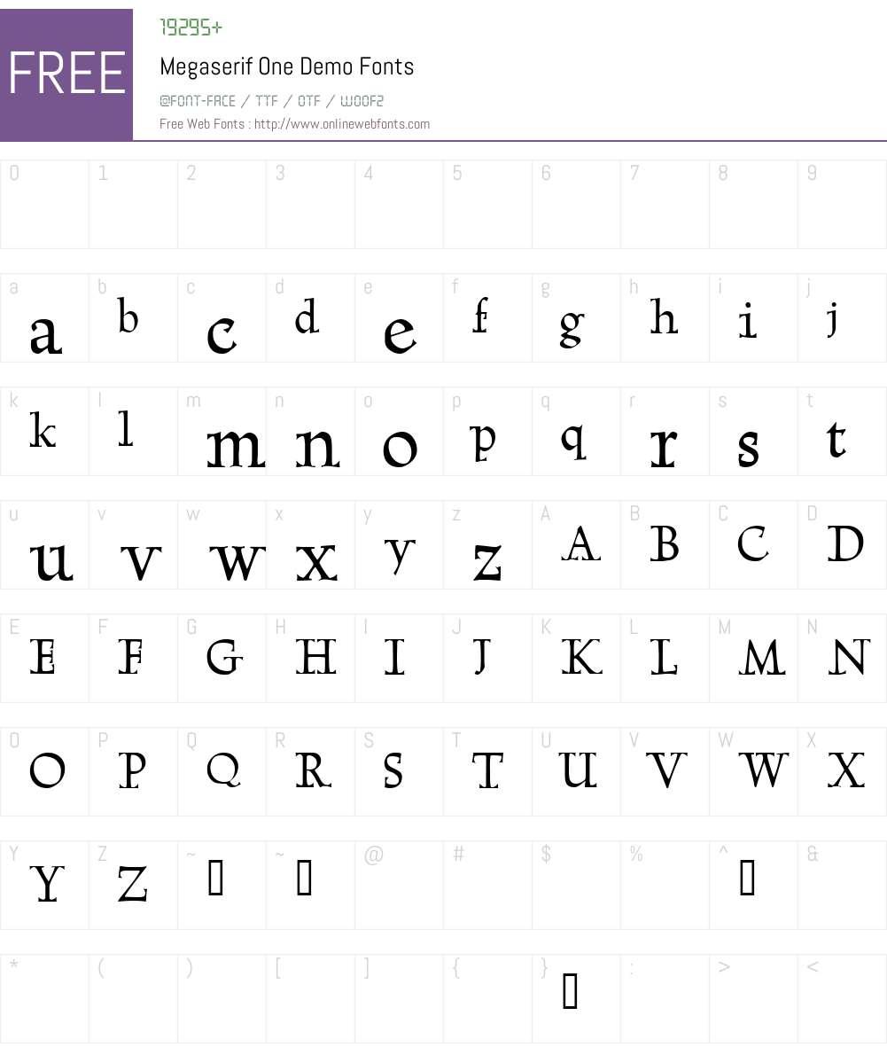 Megaserif One Demo Font Screenshots