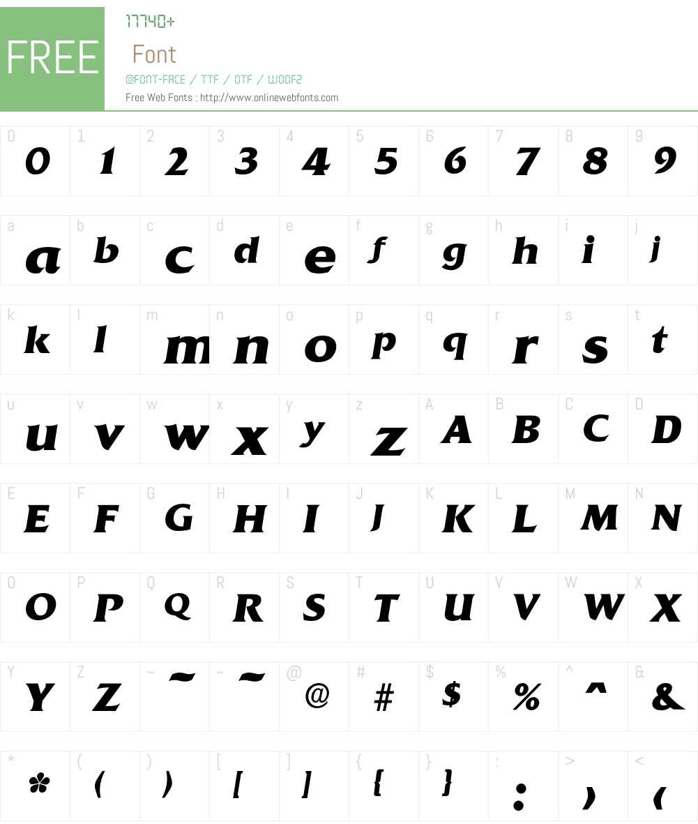 Quadrat-BoldIta Font Screenshots