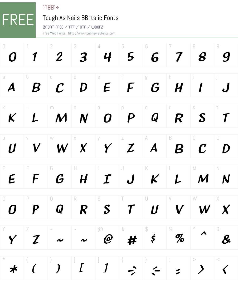 ToughAsNailsBB-Italic Font Screenshots