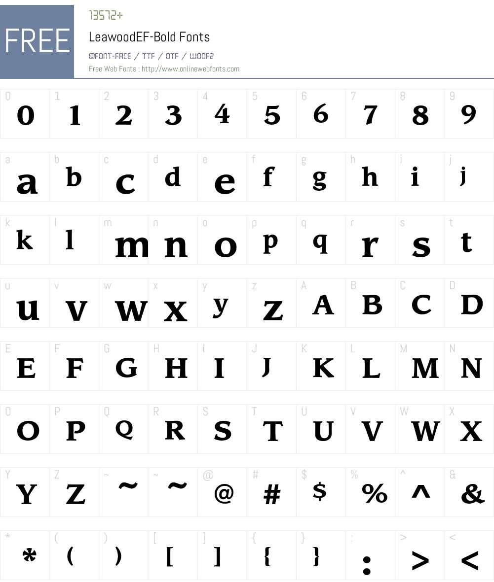 LeawoodEF-Bold Font Screenshots