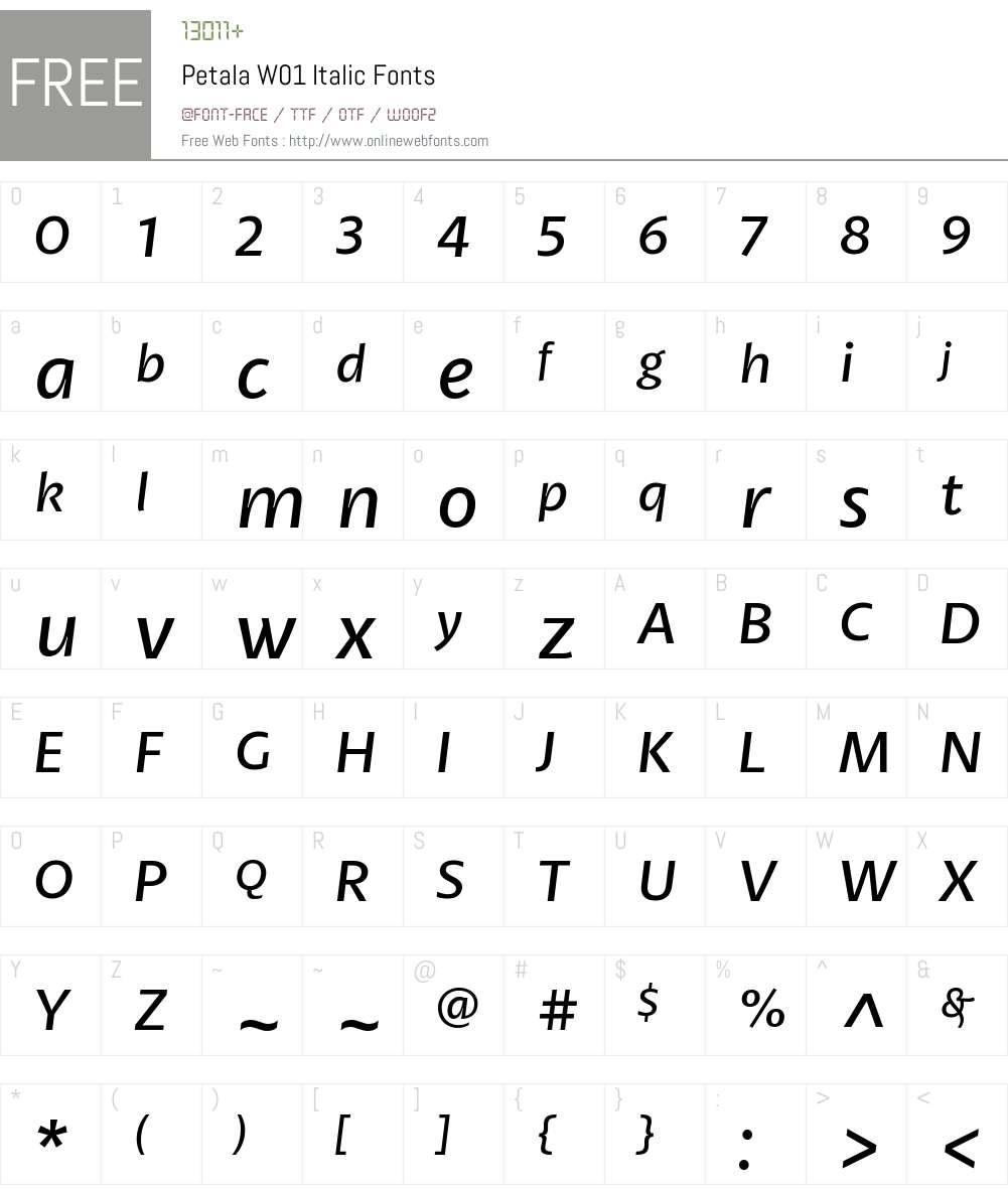 PetalaW01-Italic Font Screenshots