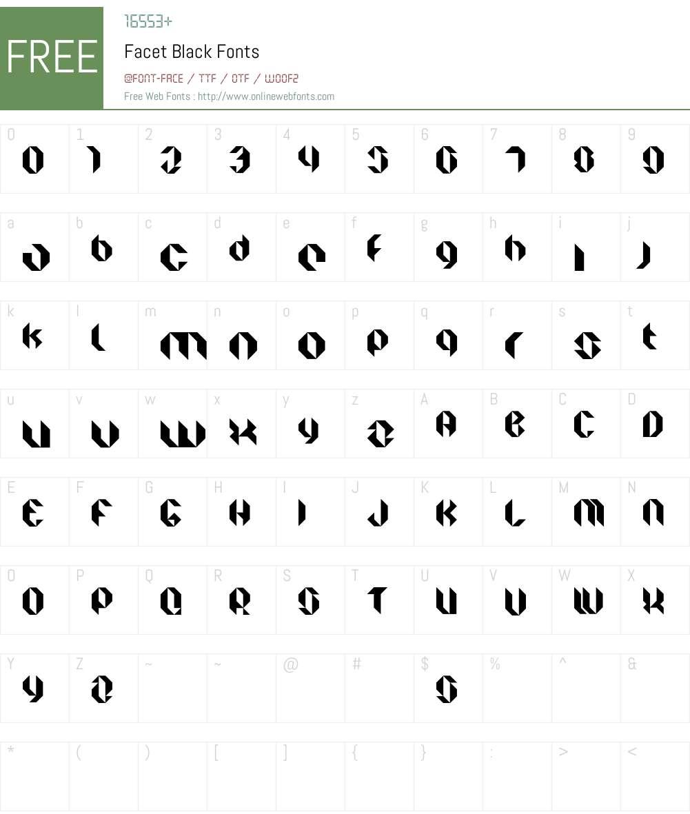 Facet Black Font Screenshots