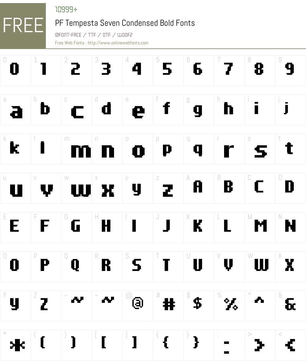 PF Tempesta Seven Condensed Font Screenshots