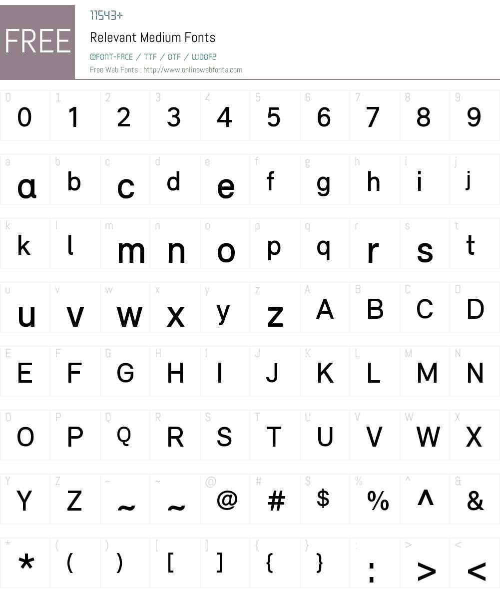 Relevant Medium Font Screenshots