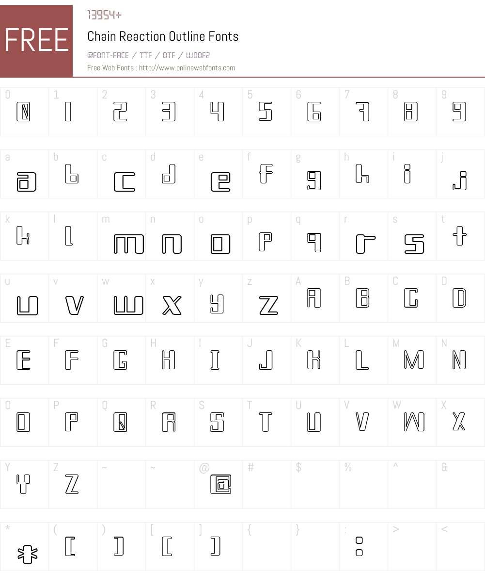 Chain Reaction Outline Font Screenshots